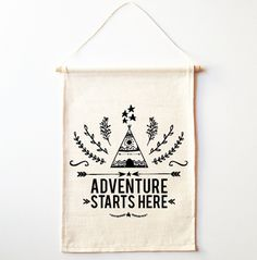 Adventure Starts Here Wall Banner by Colour and Spice