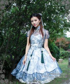 Shui Mo Qi Lolita Chinese Style Wash Painting Floral 4pcs Dress Set