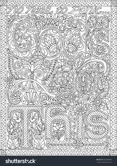 Gods Got This Adult Coloring Book Floral Fantasy Sheet Vector Illustration