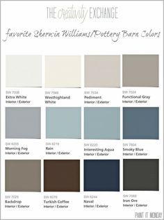 Favorite Pottery Barn paint colors from Sherwin Williams 2014 Collection by leona