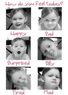Do this for a preschool value activity--have kids make emotion faces, takes photos, make a photo sheet with emotions! Feelings Chart, Feelings Book, Feelings And Emotions, Coping Skills, Social Skills, Emotions Preschool, Feeling Pictures, Emotion Faces, Conscious Discipline