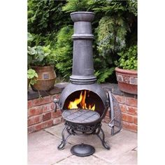 Chiminea for screen porch can be vented out roof with stove pipe