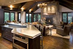 Rustic, open.  Kitchen and living room