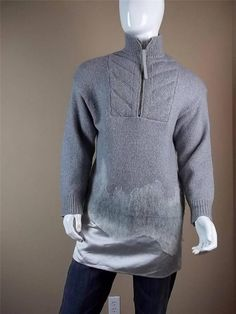 $950 Alexander Wang Long Gray White Sweater size Medium Knit Merino Wool 1/2 Zip #AlexanderWang #12Zip
