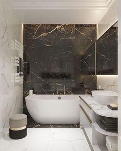 Small Luxury Bathrooms, Modern Luxury Bathroom, Bathroom Design Luxury, Minimalist Bathroom, Dream Bathrooms, Modern Bathroom Design, Home Interior Design, Minimalist Interior, Black Marble Bathroom
