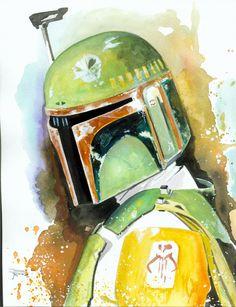 boba fett - Watercolor art by Brian Rood