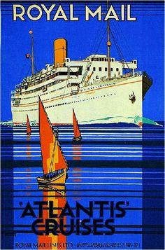 Royal Mail 'Atlantis Cruises' Ocean Liner Travel Advertisement Art ...