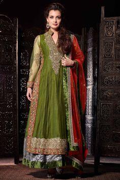 Green Anarkali Salwar Kameez Online From Skysarees