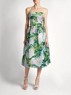 DOLCE & GABBANA  Hortensia-print strapless organza dress