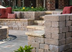 Seat Wall Design: Patio Seating Walls & Fire Pit Ideas from Belgard Fire Pit Seating, Backyard Seating, Wall Seating, Outdoor Seating, Backyard Ideas, Backyard Patio, Outdoor Decor, Patio Steps, Diy Patio