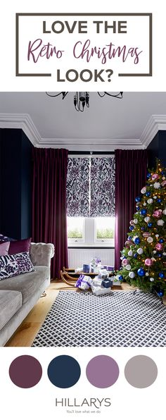 Love a slightly different Christmas look? Pair purples with greys to create a stylish living room youll love spending time in this festive season. Browse the collection to match the style. Grey Living Room With Color, Taupe Living Room, Navy Living Rooms, Living Room Color Schemes, Living Room Green, Living Room Colors, New Living Room, Living Room Decor, Dining Room