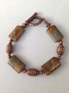 Jasper and copper bracelet on Etsy, $16.00