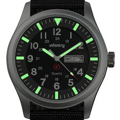 Infantry Mens Analogue Quartz Wrist Watch Date Day 24hrs Lume Silver Sport Black Nylon Strap