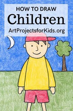Learn how to draw Children with this fun and easy art project for kids. Simple step by step tutorial available. Art Drawings For Kids, Drawing For Kids, Easy Drawings, Art Lessons For Kids, Art Lessons Elementary, Art For Kids, Easy Art Projects, Projects For Kids, Art Education Projects