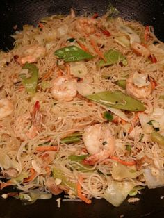 "Chicken & Shrimp Pancit -- ""Guam style"" version of pancil bihon (Filipino rice noodle dish)  ChamoritaMomma's Kitchen Filipino Pancit, Chicken And Shrimp, Shrimp And Rice, Filipino Recipes, Filipino Food, Filipino Dishes, Vietnamese Recipes, Pinoy Food, Seafood Recipes"