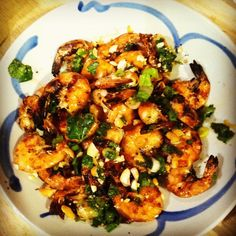 Vietnamese Rice Noodle Bowl with Grilled Shrimp