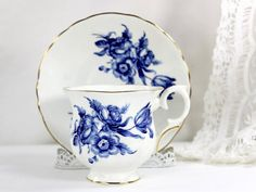 Blue Roses Crown Staffordshire Vintage Teacup, Blue and White China Tea Cup and Saucer - 12554