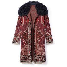 Tory Burch Embellished Long-Sleeve Coat ($1,295) ❤ liked on Polyvore featuring outerwear, coats, jackets, tapestry jacquard a, embellished coat, evening coat, red coat, tapestry coat and jacquard coat