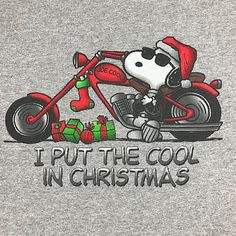 Peanuts L gray I Put the Cool in Christmas Snoopy motorcycle short sleeve tshirt #Peanuts #GraphicTee