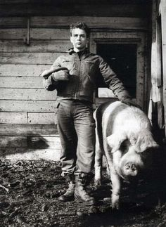 James Dean on the family farm. Fairmount, Indiana. 1955