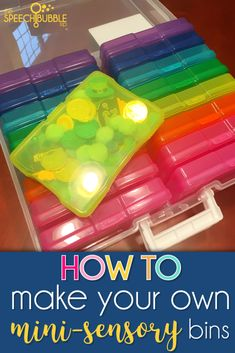Sensory Bins To Go - Perfect For The Organized SLP Sensory bins are great for targeting speech and language goals, but they can take up a lot of space. Check out how you can use scrapbook photo cases to create your own, portable, mini sensory bins! Sensory Tubs, Sensory Rooms, Sensory Boards, Sensory Bottles, Sensory Play, Sensory Diet, Toddler Sensory Bins, Learning Activities, Preschool Activities