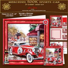 Mercedes 500K on Craftsuprint designed by June Young - A red Mercedes 500K Sports Car out5side a fashionable caf�. Set in a toning frame embellished with the Mercedes badge and Le Mans 24 hour race trophy. There is decoupage for the car and embellishments, a matching gift card, an insert and two smaller toppers which can be used inside your card front, on the back of your card or to make smaller cards or gift tags. In addition there are five greetings plates, two are blank for your own…