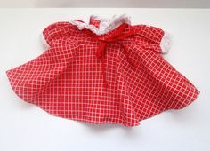Vintage Coleco Cabbage Patch Doll Clothes Red White Check Swing Dress Red Bow #Coleco #ClothingAccessories