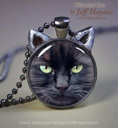 In honor of Black Cat Appreciation Day: Black CAT NECKLACE Black Cat pendant // Halloween by JeffHaynieArt #catjewelry