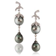 SAZINGG :: Designers of Fine Jewelry :: Shades of Grey :: Double Grey South Sea Pearl Earrings