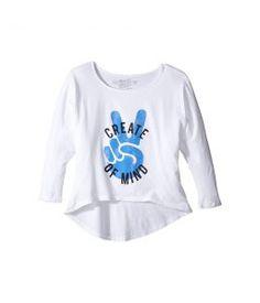 The Original Retro Brand Kids Create Peace of Mind High-Low 3/4 Sleeve (Big Kids) (White) Girl's Clothing