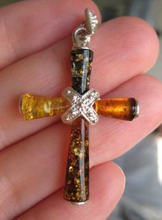 Multicolor Baltic Amber Sterling Silver Cross Pendant