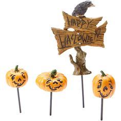 Georgetown Home And Garden Halloween Crow Sign U0026 Jack Ou0027 Lantern Pick.