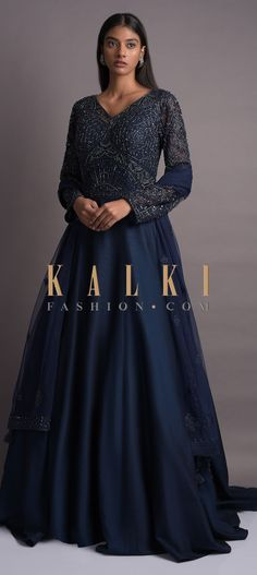 Prussian blue anarkali suit in raw silk with a trail in the back and embellished net bodice. Wedding Salwar Kameez, Prussian Blue, Blue Fabric, Anarkali, Cupboard, Party Wear, Bodice, Trail, Sequins
