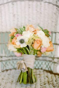 Orange white green bouquet wedding