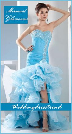 Women Love Fashion Party Wedding Dresses http://www.weddingdresstrend.com/en/glamorous-ruched-beaded-sweetheart-mermaid-dress-with-split-front.html