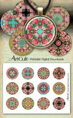 2 pulgadas Tamaño círculos MANDALAS de rosas para por ArtCult