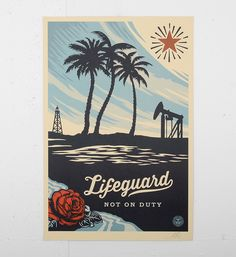 """Entitled """"Lifeguard not on duty (offset)"""", this print by Shepard Fairey (Obey) is an open edition. Made in it is signed by the artist. Format : 24 x inches x 91 cm). The work is sold unframed. Shepard Fairey Obey, 60s Art, Lifeguard, Make Art, Street Artists, Artwork Prints, Paper Design, Giclee Print, Scene"""