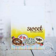 Sunny Studio Stamps: Sweet Shoppe Sweet Birthday Wishes Donuts Card by Lexa Levana. Sunnies Studios, Studio Cards, Birthday Wishes Cards, Distress Oxide Ink, Card Sketches, Recipe Cards, Greeting Cards Handmade, Card Making, Paper Crafts