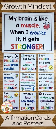 Do you teach your students about growth mindset? Are you aware of the benefits of using positive affirmations? Combine these two powerful approaches and transform student achievement! Easy to use for teachers and super beneficial for students, these 22 af Visible Learning, Bulletins, E Mc2, Character Education, School Counselor, Anchor Charts, Social Skills, In Kindergarten, Classroom Management