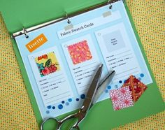 Brilliant way to keep track of your fabrics.  Printable swatch card set from Lisette