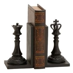 Great gift for Jeffrey, Brenas husband. he loves chess. Take a look at this King & Queen Chess Piece Bookends today! Black King And Queen, King Queen, Red Queen, Queen Chess Piece, Chess Books, Chess Pieces, Dot And Bo, Joss And Main, Home Accents