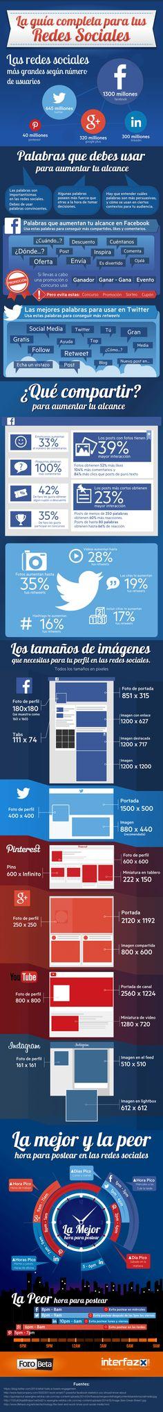 La guía completa para tus redes sociales. Infografía en español. #CommunityManager