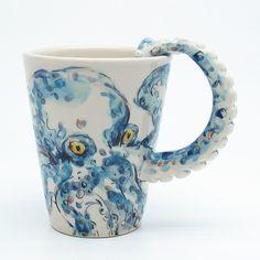 Octopus mug. Same style as my elephant mug. This thing is awesome! #octopus #mug