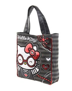 This bag is awesome! Striped Shoulder Bags, Hello Kitty Bag, Black Stripes, Cosmetic Bag, Fashion Bags, Diaper Bag, Reusable Tote Bags, Wallet, Gray