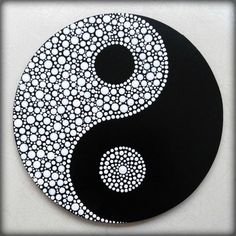 Round Yin Yang painting, made to order dot painting, dot art Hand painted Yin Yang dot art on a round chipboard. A symbolic painting, handmade with love and patience… This item is made to order :. Dot Art Painting, Rock Painting Designs, Pebble Painting, Painting Patterns, Stone Painting, Dot Painting On Rocks, Mandala Art, Mandala Painting, Mandala Painted Rocks