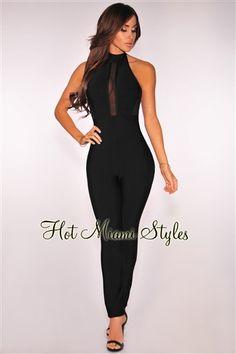 8ac4d887f21d Black Mesh Halter Bandage Jumpsuit Black Sequin Jumpsuit