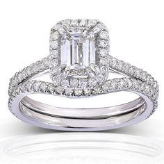 Annello 14k Gold 1 1/2ct TDW Emerald-cut Halo Diamond Bridal Rings Set