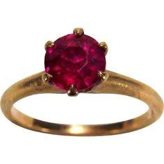 Victorian 1 Carat Ruby 10K Yellow Gold Ring