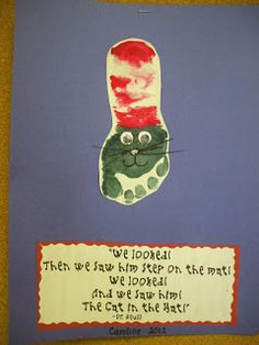 Cat in the Hat Footprint Craft - pretty sure this is what my 1year olds will be doing this week!  : )