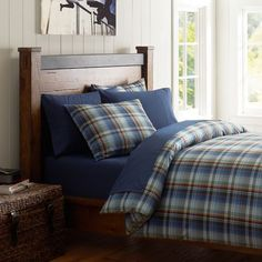Pottery Barn Teen Rally Plaid Duvet Cover & Sham (guest room w/ brown coverlet)